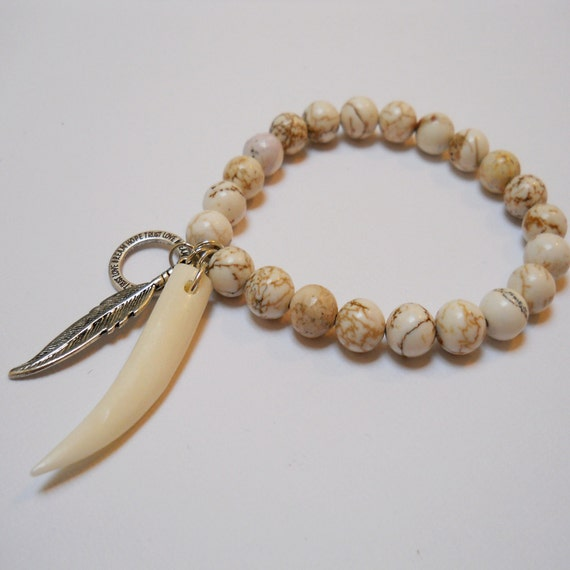 Howlite Beaded Stretch Bracelet