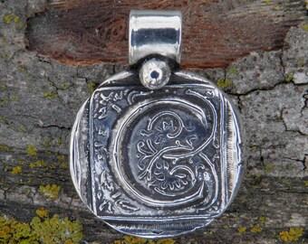 Silver C Initial Pendant