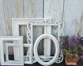 Distressed Vintage PICTURE FRAMES - Ornate - Set of 5 - Heirloom White - Shabby Chic Wedding - w/ Glass N Backing