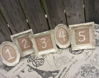 5 Vintage Style TABLE NUMBERS - Small Ornate Picture Frames - You Choose the Color - wedding reception sign