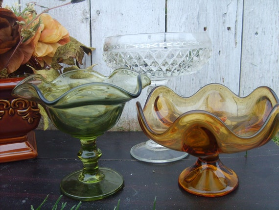 SALE 3 vintage PEDESTAL DiSHES Fall PeAcOcK wedding or home decor
