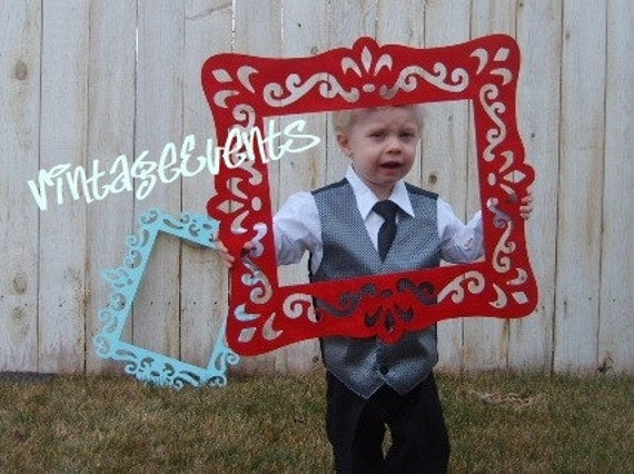 3 Large Vintage Style PHOTO BOOTH FRaMEs - You Choose the Colors - Double Sided  -  wedding - holiday - home