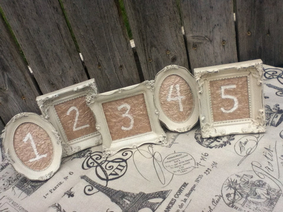 6 vintage style chalkboard table numbers small ornate