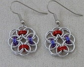 Earrings, Chainmaille, Celtic Style Helm Weave, Flower Rosette Drops in Silver, Red and Purple Jump Rings, Handmade by Lace Metal on Etsy