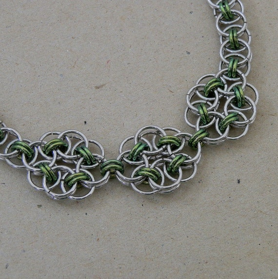 Necklace, Chainmaille, Celtic Style Helm Weave Flowers in Green and Silver Jump Rings, Handmade by Lace Metal on Etsy