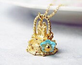 Something Blue - Lucky Wedding Charm Necklace. Bridesmaid Gift. 14K Gold Filled Chain.