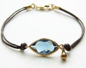 ON VACATION -Will Ship After 1/17- Montana Blue Evil Eye with a Golden Tear. Stackable Bracelet. September Birthday.