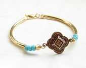 Antiqued Gold Clover Bracelet with Czech Turquoise Beads. Stackable Bracelet. December Birthday