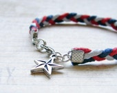 SALE- Braided Bracelet. Red White and Blue. July 4th Nautical Jewelry. TierraCast Star Charm