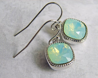 Swarovski Earrings ~ Cushion Cut Chrysolite Opal ~ Gift for Her ~ Mint Opal Earrings ~ Bridesmaid Gift