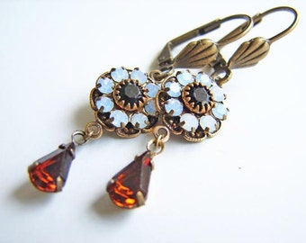 Vintage Style Swarovski Earrings. White Opal Flower with Amber Teardrop. Fall Fashion by Smallbluethings