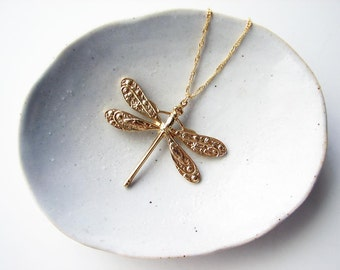 Dragonfly Necklace. Gold Plated Dragonfly Charm