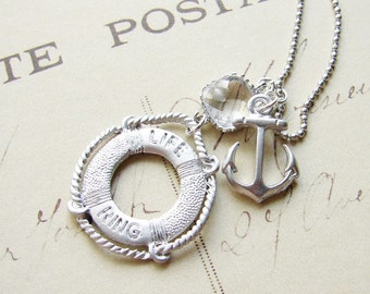 Anchor Necklace. Nautical Necklace with an Anchor and a Life Ring. Simple Modern Jewelry by Smallbluethings