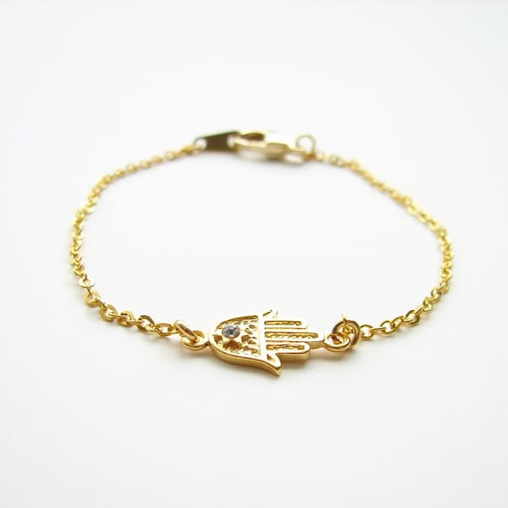 Hamsa Bracelet. 22K Gold Plated Lucky Charm with 14K Gold Filled Chain - Also Available in Silver - Featured on Front Page of Etsy