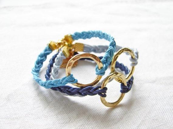 Blue Braided Bracelet. 22K Gold Plated Ring. Choose Your Favorite Blue