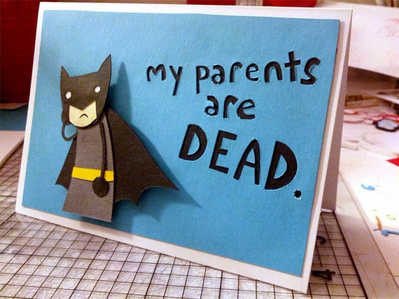 Sad Batman Handmade Greeting Card