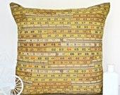 Tape measure cushion measuring tape pillow retro cushion retro pillow yellow cushion yellow pillow yellow throw pillow beige cushion