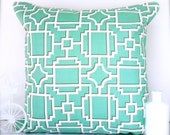 SALE Seafoam cushion cover seafoam pillow cover geometric cushions geometric pillows throw pillow decorative pillow lattice blue turquoise