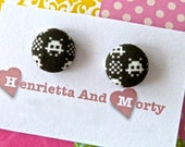 Fabric earrings space invaders studs post earrings black white video game earrings black earrings