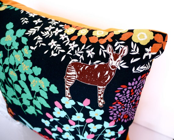 Black cushions black pillows animal cushion animal pillow echino pillow echino cushion orange throw pillow jungle kokka orange cushion
