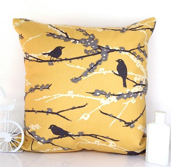 Yellow cushion throw pillow yellow pillow bird cushion bird pillow mustard yellow blossom Joel Dewberry Aviary