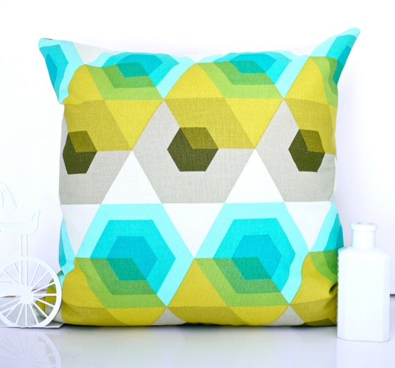 RESERVED FOR HEIDI Geometric cushion turquoise pillow turquoise cushion retro cushion mid century cushion