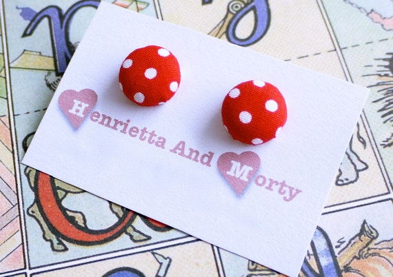 Red earrings fabric earrings red and white polka dot earrings retro earrings red studs post red and white earrings