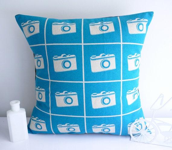Blue cushion throw pillow camera cushion camera pillow blue pillow retro cushion retro pillow mid century cushion echino pillow