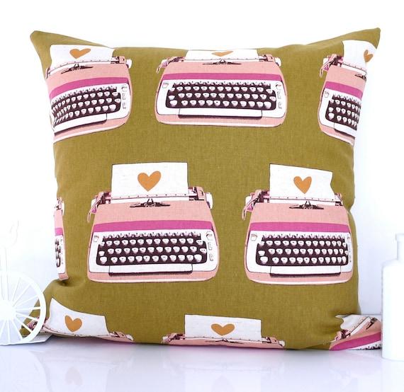 Typewriter cushion typewriter pillow mustard cushion mustard pillow throw pillow retro pillow retro cushion Kokka Melody Miller mid century