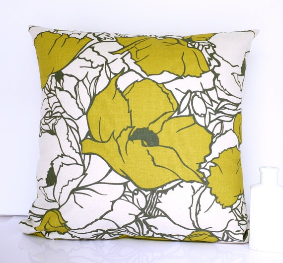 Reserved for Megan Chartreuse cushion cover throw pillow chartreuse pillow cover mustard cushion floral pillow floral cushion retro cushion