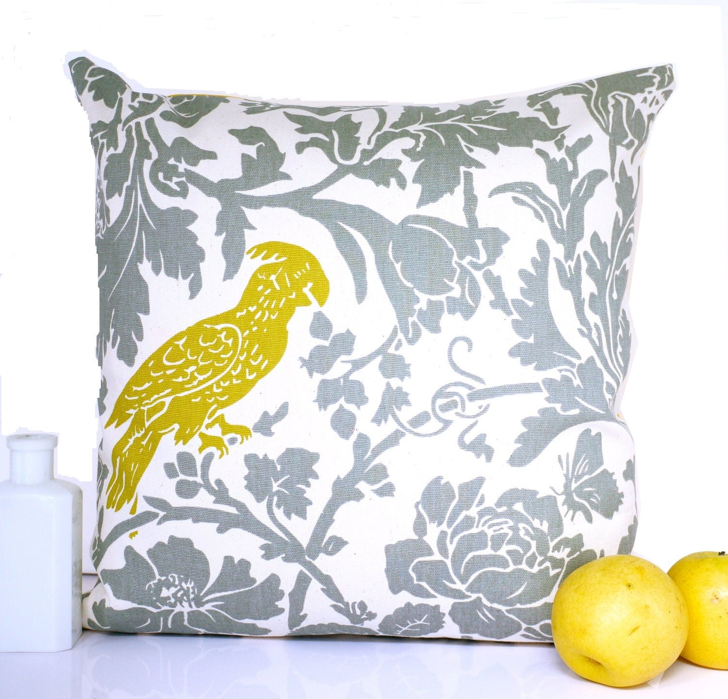 Bird cushion throw pillow grey cushion gray by HenriettaAndMorty