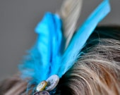 Buttoned & Blue Feather Hair Clip