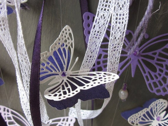 On sale : Monarch paper butterfly mobile in bright purple shades --- Perfect for your nursery or every room that needs a little spring touch