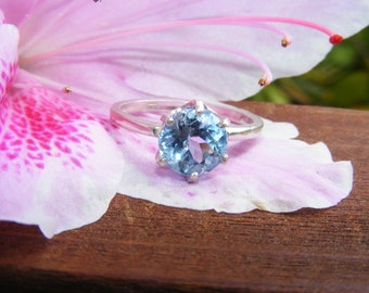 Blue Topaz Solitare and Sterling Silver Ring