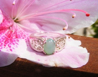 Blue Opal Set in Sterling Silver Ring