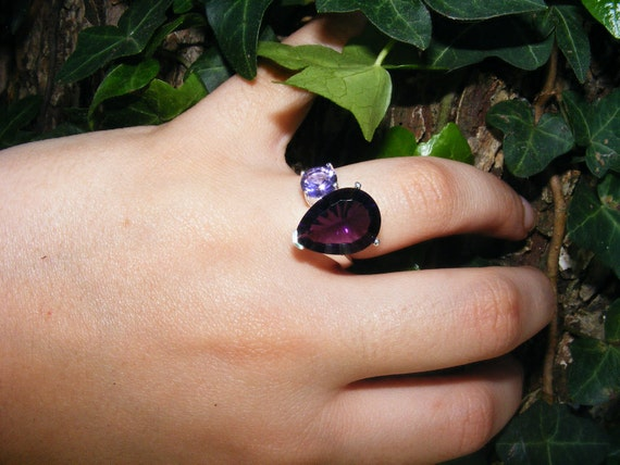 Asymmetrical Amethyst & Sterling Silver Ring, Over 7ct of Amethyst