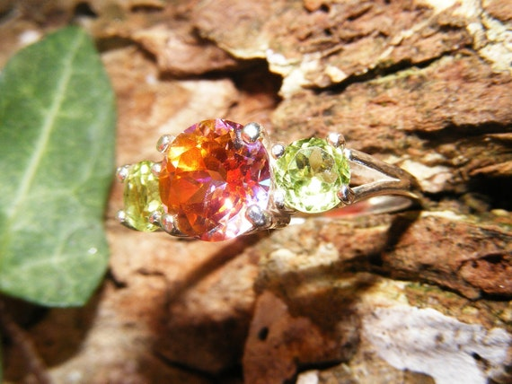 Reserved Azotic Topaz & Peridot Sterling Silver Ring Reserved for Andrea FINAL PAYMENT