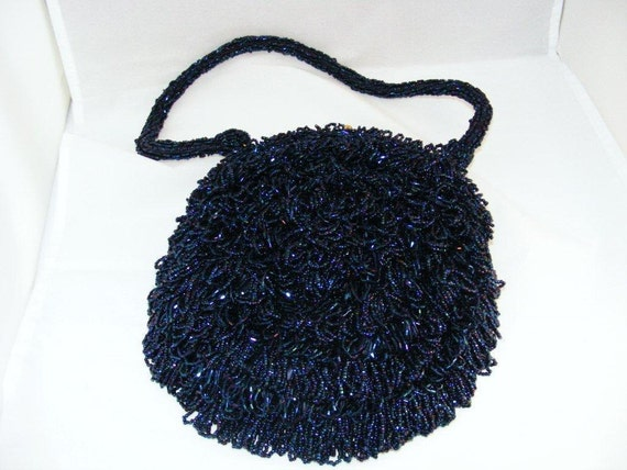 Reserved for Heather Vintage Midnight Blue Beaded  Koret Tresor  Purse