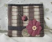 Ladybird And Flower Purse / Quilt Style Zipper Pouch
