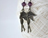 ON SALE Angel Dangle Earrings with Purple Beads-Evangeline