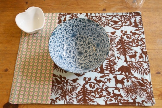 Forest animals placemat - set of two (double sided)