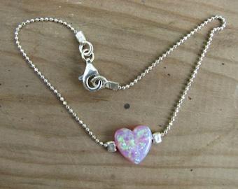 Delicate Pink Opal Heart Bracelet Sterling Silver Chain