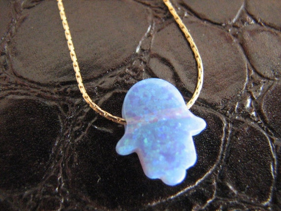 Gold Opal Hamsa Necklace, Hamsa Hand Charm on 14K Gold fill chain, Turquoise Blue Opal Hamsa, Gold Necklace