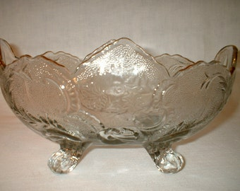 EAPG Oval Scalloped Bowl with Feet