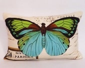 butterfly Pillow Cover-butterflies pillow cover-french script pillow cover-linen pillow cover-12 x 18 pillow cover-turquoise