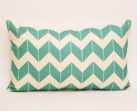 turquoise chevron pillow cover- chevron pillow cover-pillow cover-16x 26 pillow-turquoise and cream-zig zag-linen