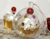 Gold Mini Cupcake with Sprinkles inside 60mm Clear Ornament
