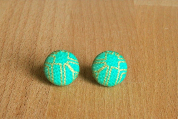 Green with Gold Geometric Pattern Fabric Button Earrings