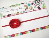 Small RED Headband .. Valentines Satin Flower w/ SWAROVSKI Crystal -Super Skinny Soft Stretch Headband -  Newborn Infant toddler teen - SALE