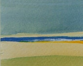 Small minimalist landscape painting - original colourful abstract art in blue yellow and green